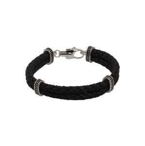 ROYAL-EGO Náramek 'Leather Bracelet black'  černá
