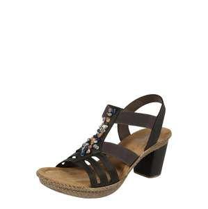 RIEKER Páskové sandály  tmavě hnědá