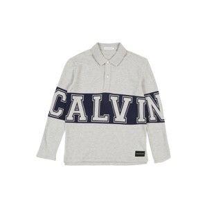 Calvin Klein Jeans Tričko 'VARSITY LS POLO'  šedý melír / černá