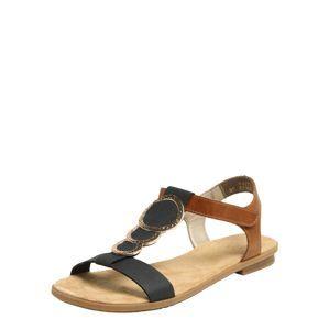 RIEKER Páskové sandály  tmavě modrá / hnědá