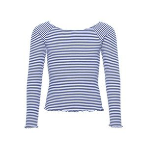 NAME IT Tričko 'NLFDALLAS LS OFF SHOULDER TOP NOOS'  modrá / bílá