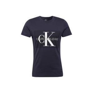 Calvin Klein Jeans Tričko 'Core Monogram Box Logo Slim Tee'  noční modrá / černá / bílá