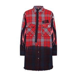 DIESEL Košilové šaty  červená / černá