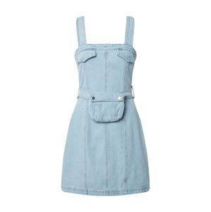 Missguided Šaty 'ZIP UP DENIM DRESS WITH BELT BAG'  modrá