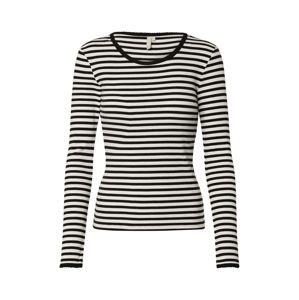 PIECES Tričko  bílá / černá