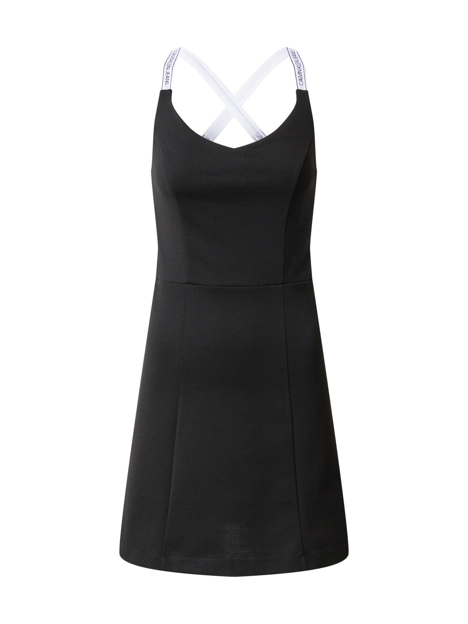 Calvin Klein Jeans Šaty 'Milano'  černá / bílá