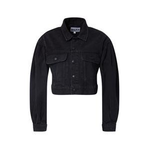 NA-KD Přechodná bunda 'puff sleeve oversized denim jacket'  černá