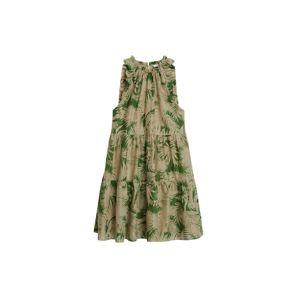MANGO Letní šaty  béžová / zelená