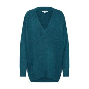TOM TAILOR DENIM Svetr 'long v-neck pullover 1/1'  zelená