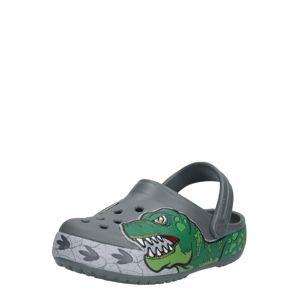 Crocs Otevřená obuv 'Fun Lab Dino Band Lights'  šedá / zelená