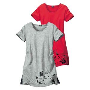VIVANCE Noční košilka  šedý melír / brusinková