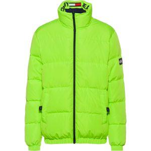 Tommy Jeans Zimní bunda  noční modrá / svítivě zelená
