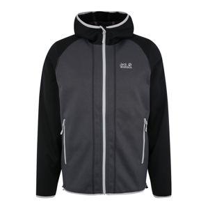 JACK WOLFSKIN Sportovní bunda 'HYDRO HOODED JACKET M'  černá / tmavě šedá / světle šedá