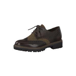 MARCO TOZZI Šněrovací boty  mokka / šedobéžová