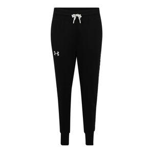 UNDER ARMOUR Sportovní kalhoty 'FLEECE PANT TAPED'  bílá / černá