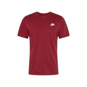 Nike Sportswear Tričko 'Club Tee'  vínově červená / bílá