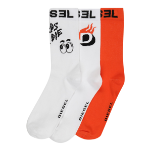 DIESEL Ponožky 'SKM-RAY'  bílá / černá / svítivě oranžová