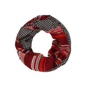 CODELLO Kruhová šála 'MODERN GEOS'  světle béžová / růže / krvavě červená / černá / bílá