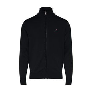 TOMMY HILFIGER Kardigan 'ORGANIC COTTON SILK ZIP THROUGH'  černá