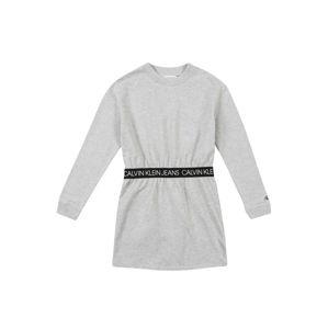 Calvin Klein Jeans Šaty 'LOGO WAISTBAND LS DR'  šedý melír