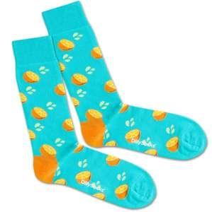 DillySocks Ponožky 'Fresh Orange'  tyrkysová / žlutá