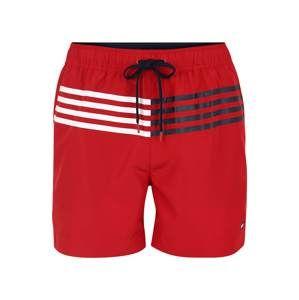Tommy Hilfiger Underwear Plavecké šortky 'MEDIUM DRAWSTRING'  červená / bílá