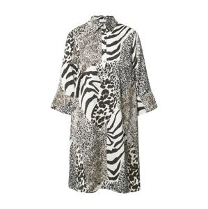 Love & Divine Košilové šaty  černá / bílá / světle hnědá / šedá