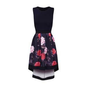 Mela London Šaty 'BRIGHT FLORAL TWO TONE HIGH LOW DRESS'  černá