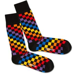 DillySocks Ponožky 'Rainbow Chess'  mix barev