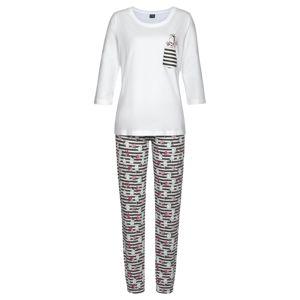 VIVANCE Pyžamo  bílá / tmavě růžová / černá