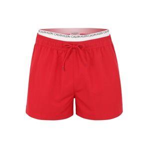 Calvin Klein Swimwear Plavecké šortky 'DOUBLE WAISTBAND'  červená / bílá