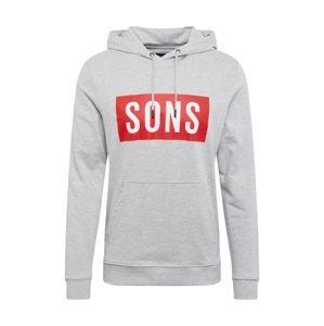 Only & Sons Mikina 'onsKRIS SWEAT HOODIE'  světle šedá / červená