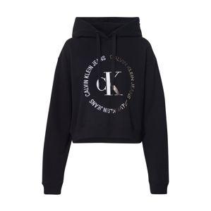 Calvin Klein Jeans Mikina  černá / stříbrná