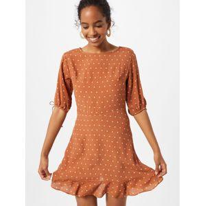 Cotton On Šaty 'Woven Lucie Mini'  hnědá / bílá