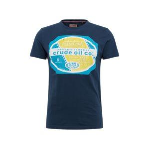 Petrol Industries Tričko  tmavě modrá / nebeská modř / bílá / žlutá