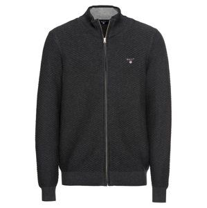 GANT Kardigan 'O1.TRIANGLE TEXTURE FULLZIP'  antracitová
